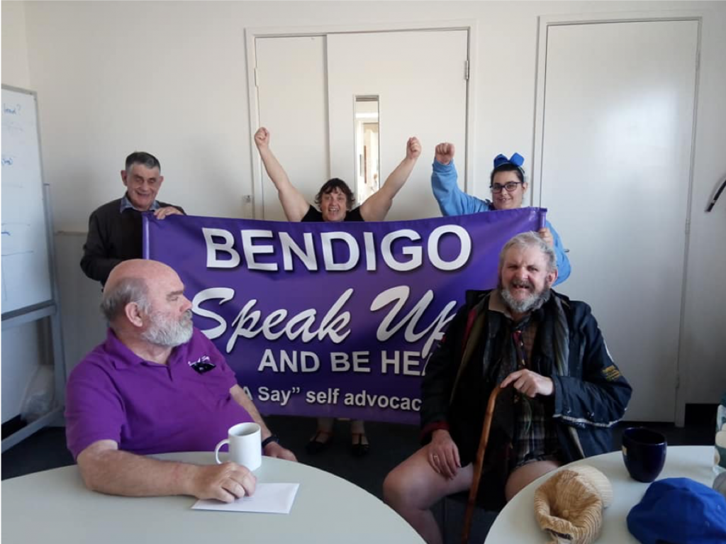 Picture of the Bendigo have a say committee holding Speak Up banner
