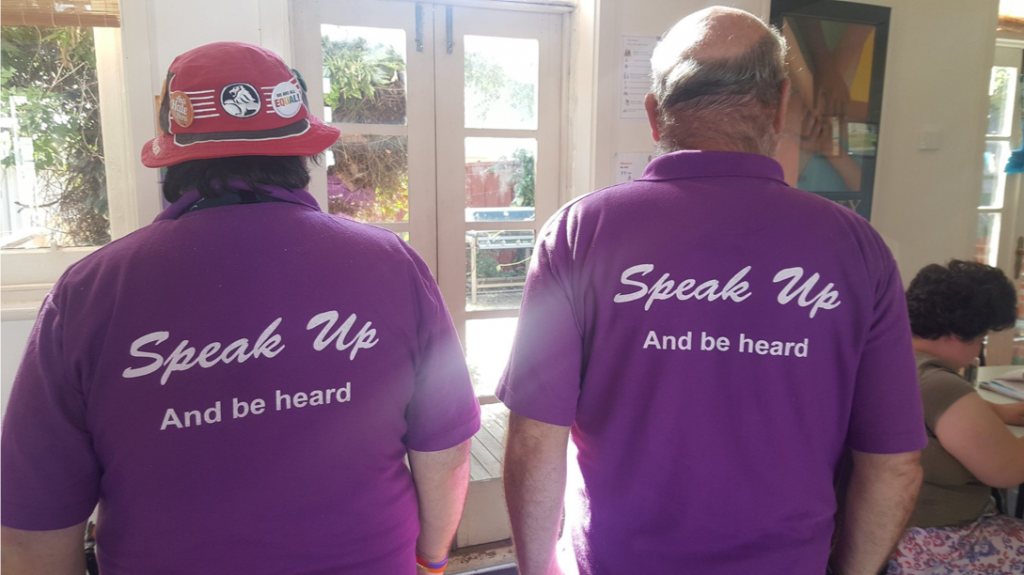 Bendigo speak up committee members wearing their have a say t-shirts