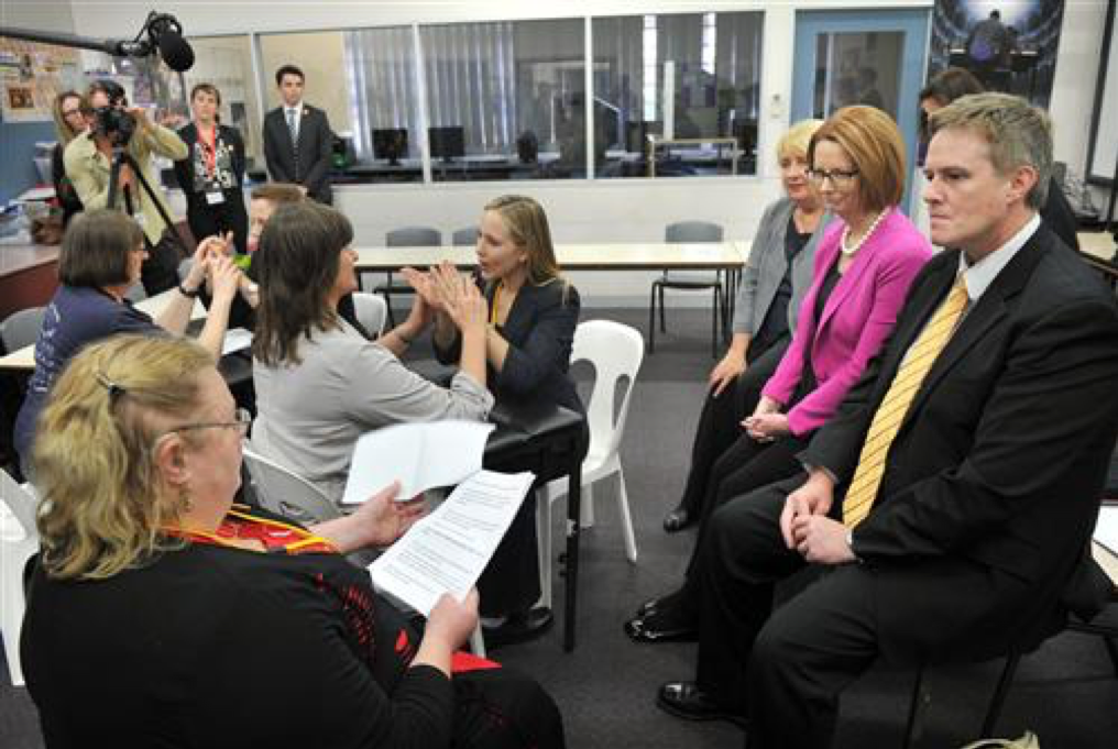 Picture of a committee meeting with Deaf Blind Victoria who are signing during meeting with Julia Gillard