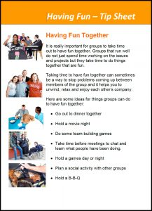 Image for the Good Groups Tool Kits - Having Fun Tip Sheet document