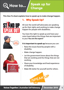 Image for the How to - Speak up for Change brochure