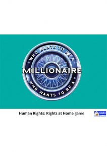 Button for the Human Rights Rights At Home game