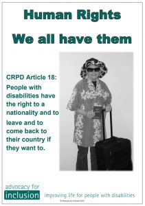 Made by aus groups Advocacy for inclusion crpd 18 button