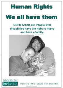 Made by aus groups Advocacy for inclusion crpd 23 button