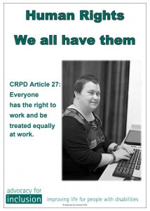Made by aus groups Advocacy for inclusion crpd 27 button