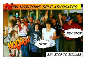 Button of New horizons committee saying no to bullies poster