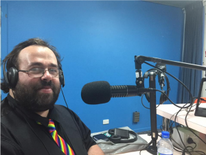 Rainbow Rights Self Advocacy member at radio station