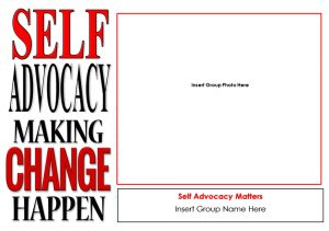 Button for Self advocacy and change posters