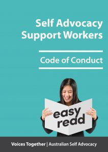 Button for support workers - easy english code of conduct