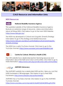 CALD Resource and Information Links